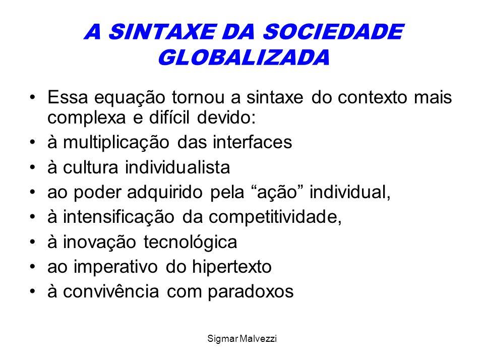 Sigmar Malvezzi A SINTAXE DA SOCIEDADE GLOBALIZADA Essa equação tornou a sintaxe do contexto mais complexa e difícil devido: à multiplicação das inter