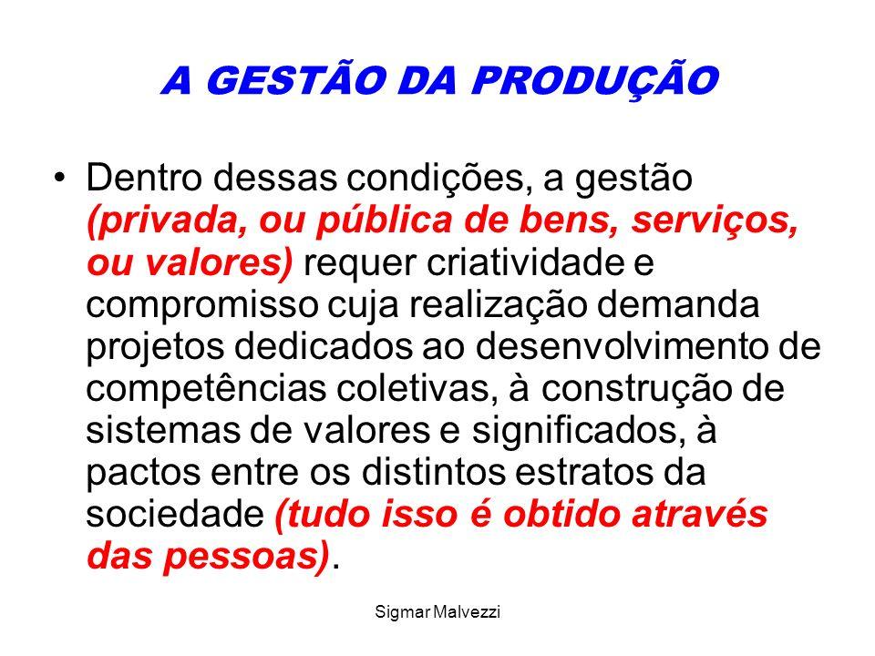 Sigmar Malvezzi A GESTÃO DA PRODUÇÃO Dentro dessas condições, a gestão (privada, ou pública de bens, serviços, ou valores) requer criatividade e compr