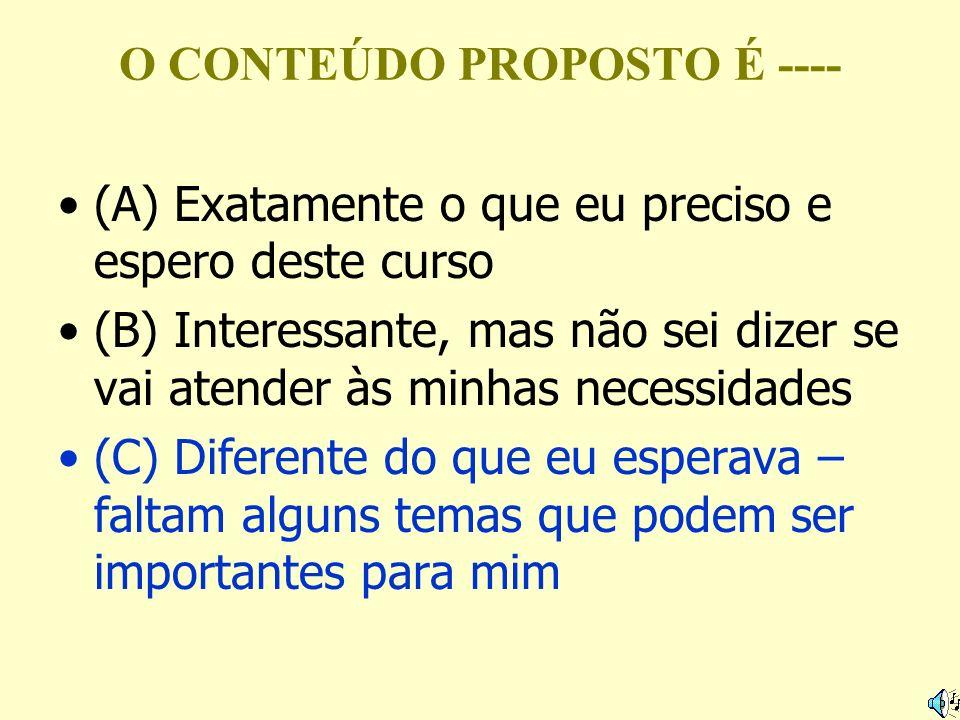 O CONTEÚDO PROPOSTO É ---- (A) Exatamente o que eu preciso e espero deste curso (B) Interessante, mas não sei dizer se vai atender às minhas necessida