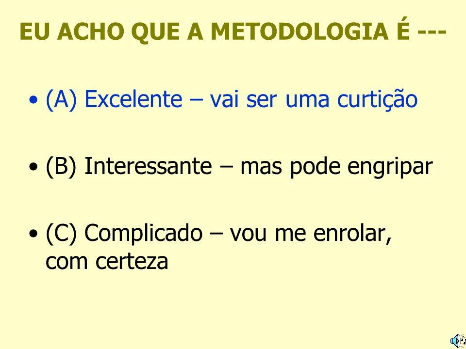 EU ACHO QUE A METODOLOGIA É --- (A) Excelente – vai ser uma curtição (B) Interessante – mas pode engripar (C) Complicado – vou me enrolar, com certeza