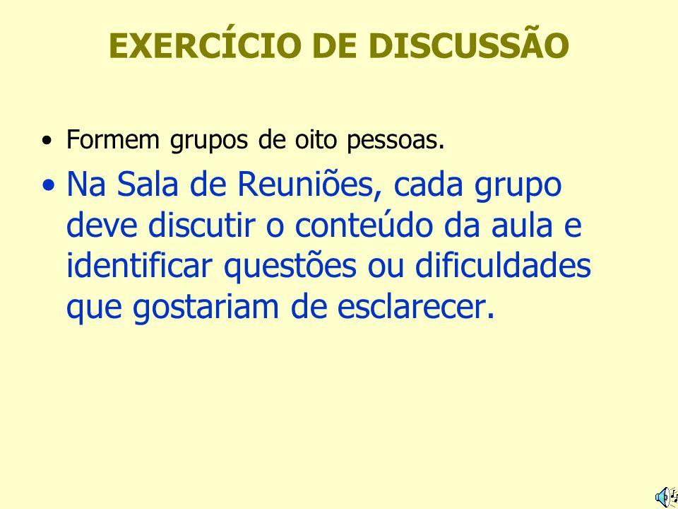 EXERCÍCIO DE DISCUSSÃO Formem grupos de oito pessoas. Na Sala de Reuniões, cada grupo deve discutir o conteúdo da aula e identificar questões ou dific