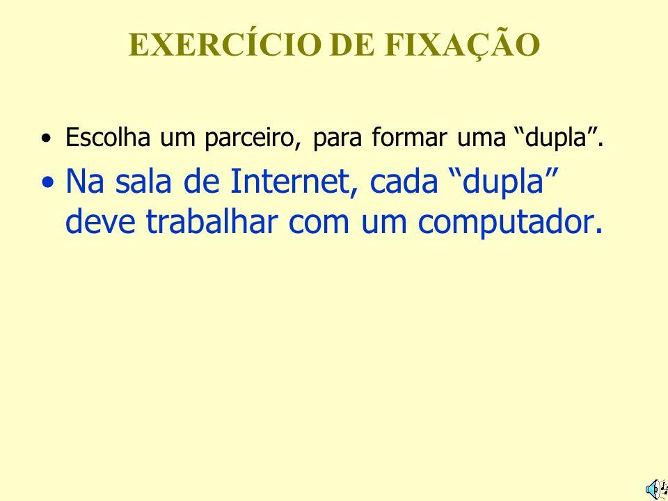 EXERCÍCIO DE FIXAÇÃO Escolha um parceiro, para formar uma dupla. Na sala de Internet, cada dupla deve trabalhar com um computador.