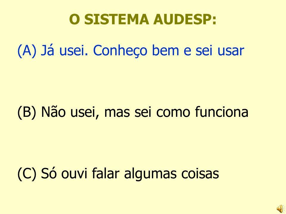 O SISTEMA AUDESP: (A) Já usei. Conheço bem e sei usar (B) Não usei, mas sei como funciona (C) Só ouvi falar algumas coisas
