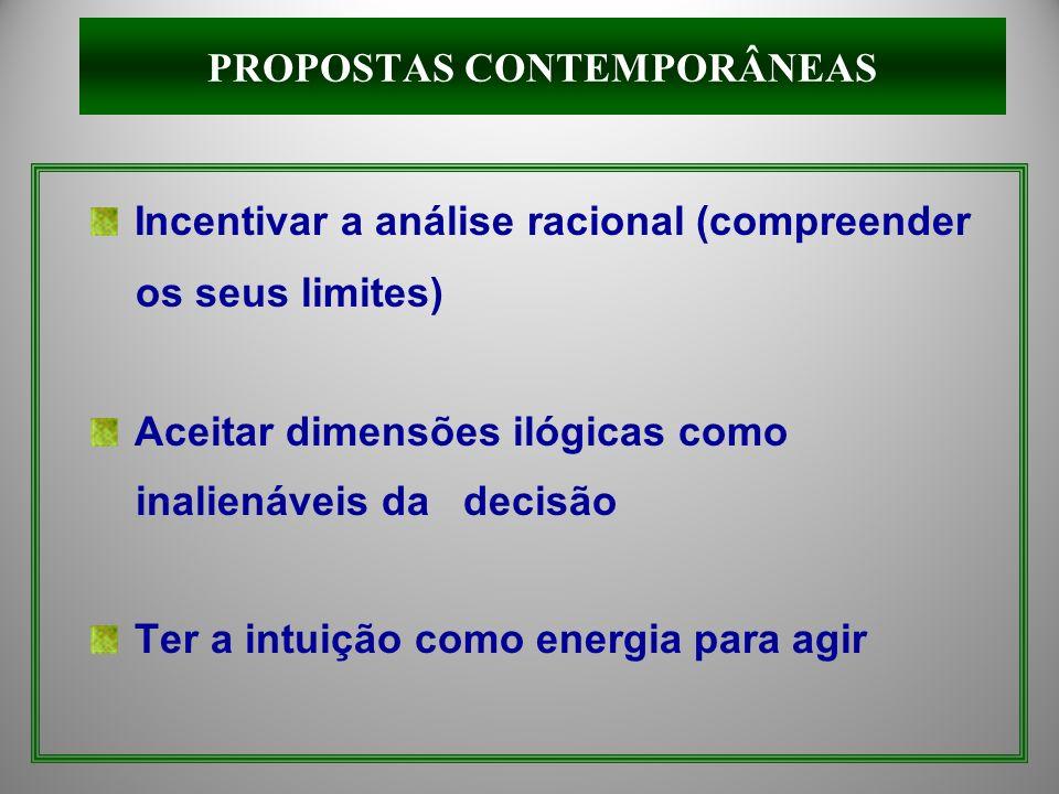Incentivar a análise racional (compreender os seus limites) Aceitar dimensões ilógicas como inalienáveis da decisão Ter a intuição como energia para a