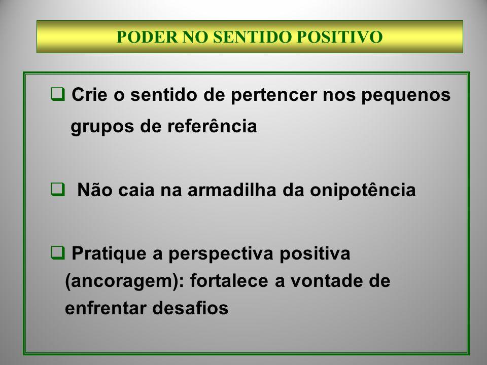 Crie o sentido de pertencer nos pequenos grupos de referência Não caia na armadilha da onipotência Pratique a perspectiva positiva (ancoragem): fortal