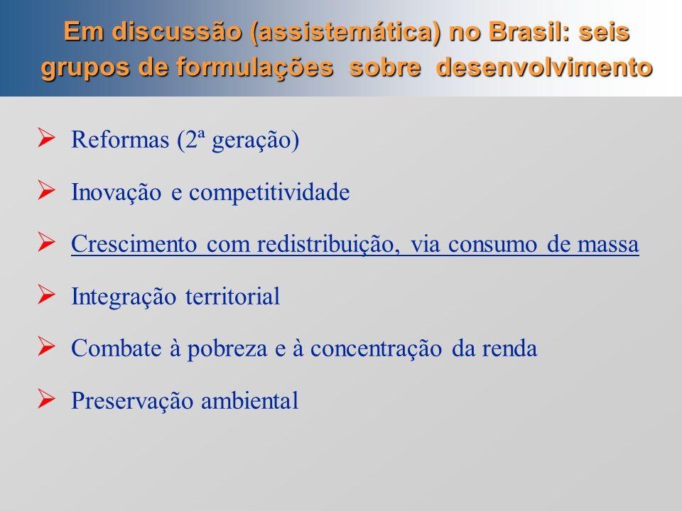 Consumo de massa; Inovação e competitividade; Integração territorial Combate à pobreza e à concentração da renda Heterodoxo 2) Heterodoxa na macroecon
