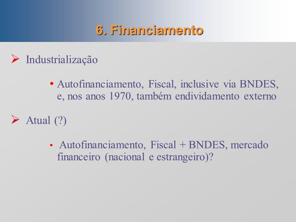 5. Agentes do investimento Industrialização Conduzida pelo Estado, e baseada no tripé (capital estatal, privado nacional e privado estrangeiro) Atual