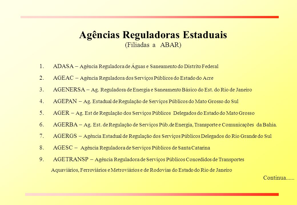 Agências Reguladoras Estaduais (Filiadas a ABAR) 1.ADASA – Agência Reguladora de Águas e Saneamento do Distrito Federal 2.AGEAC – Agência Reguladora d