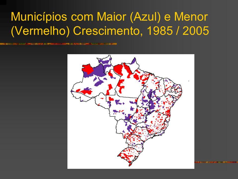 Municípios com Maior (Azul) e Menor (Vermelho) Crescimento, 1985 / 2005
