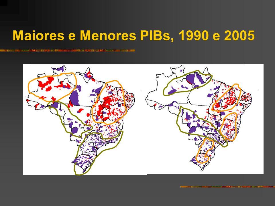 Maiores e Menores PIBs, 1990 e 2005