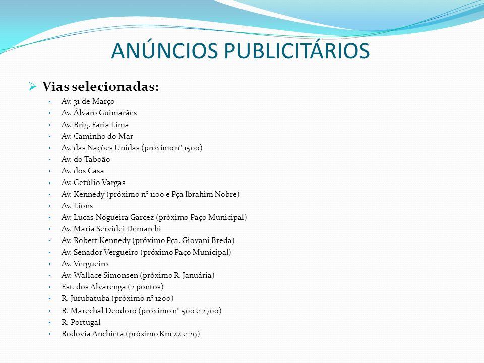ANÚNCIOS PUBLICITÁRIOS Vias selecionadas: Av. 31 de Março Av. Álvaro Guimarães Av. Brig. Faria Lima Av. Caminho do Mar Av. das Nações Unidas (próximo