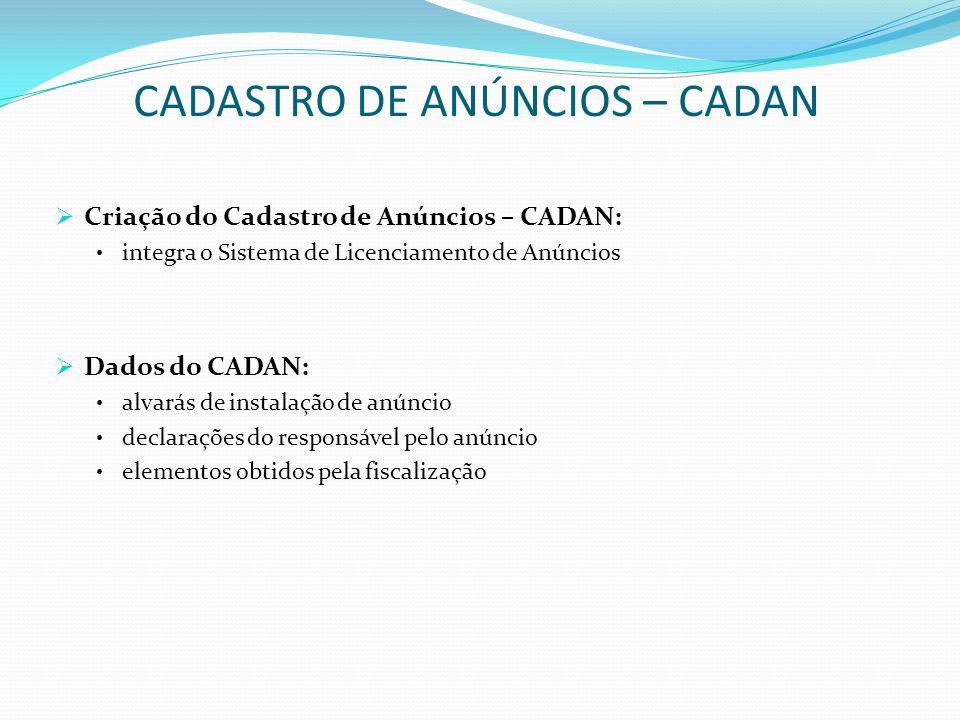 CADASTRO DE ANÚNCIOS – CADAN Criação do Cadastro de Anúncios – CADAN: integra o Sistema de Licenciamento de Anúncios Dados do CADAN: alvarás de instal
