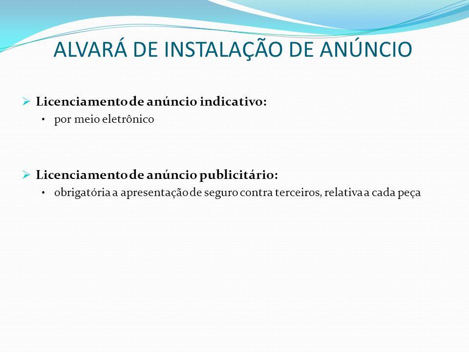 ALVARÁ DE INSTALAÇÃO DE ANÚNCIO Licenciamento de anúncio indicativo: por meio eletrônico Licenciamento de anúncio publicitário: obrigatória a apresent