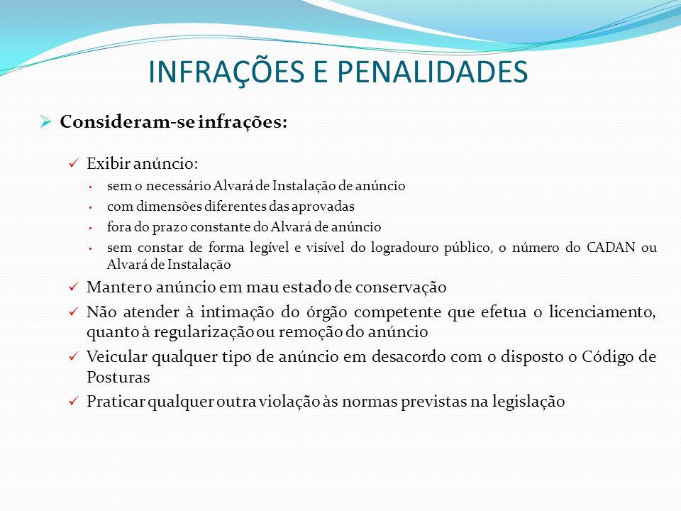 INFRAÇÕES E PENALIDADES Consideram-se infrações: Exibir anúncio: sem o necessário Alvará de Instalação de anúncio com dimensões diferentes das aprovad