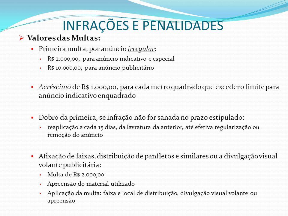 INFRAÇÕES E PENALIDADES Valores das Multas: Primeira multa, por anúncio irregular: R$ 2.000,00, para anúncio indicativo e especial R$ 10.000,00, para