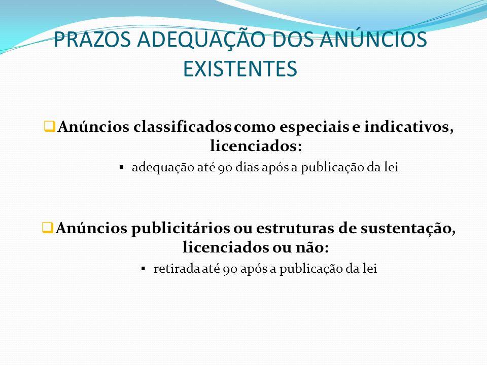 PRAZOS ADEQUAÇÃO DOS ANÚNCIOS EXISTENTES Anúncios classificados como especiais e indicativos, licenciados: adequação até 90 dias após a publicação da