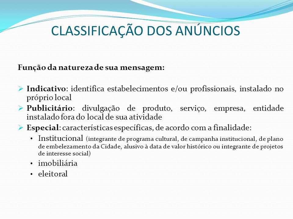 CLASSIFICAÇÃO DOS ANÚNCIOS Função da natureza de sua mensagem: Indicativo: identifica estabelecimentos e/ou profissionais, instalado no próprio local