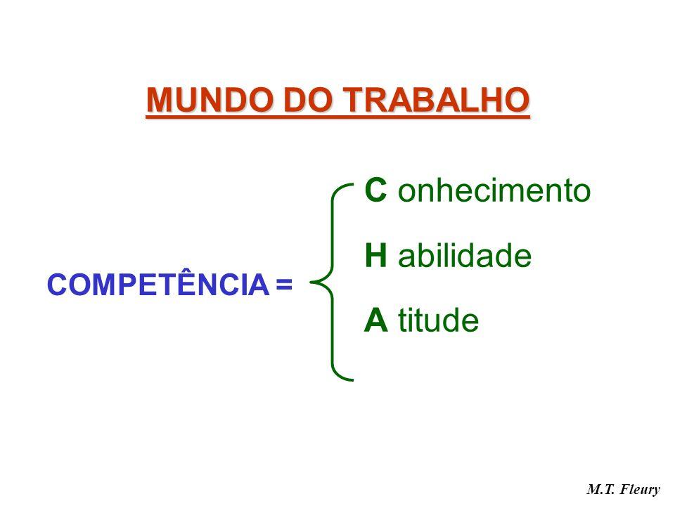 MUNDO DO TRABALHO C onhecimento H abilidade A titude COMPETÊNCIA = M.T. Fleury