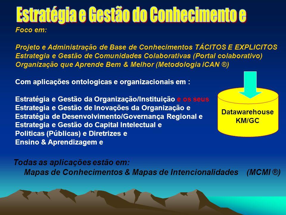 Todas as aplicações estão em: Mapas de Conhecimentos & Mapas de Intencionalidades (MCMI ®) Datawarehouse KM/GC Foco em: Projeto e Administração de Base de Conhecimentos TÁCITOS E EXPLICITOS Estrategia e Gestão de Comunidades Colaborativas (Portal colaborativo) Organização que Aprende Bem & Melhor (Metodologia iCAN ®) Com aplicações ontologicas e organizacionais em : Estratégia e Gestão da Organização/Instituição e os seus Estrategia e Gestão de Inovações da Organização e Estratégia de Desenvolvimento/Governança Regional e Estrategia e Gestão do Capital Intelectual e Politicas (Públicas) e Diretrizes e Ensino & Aprendizagem e