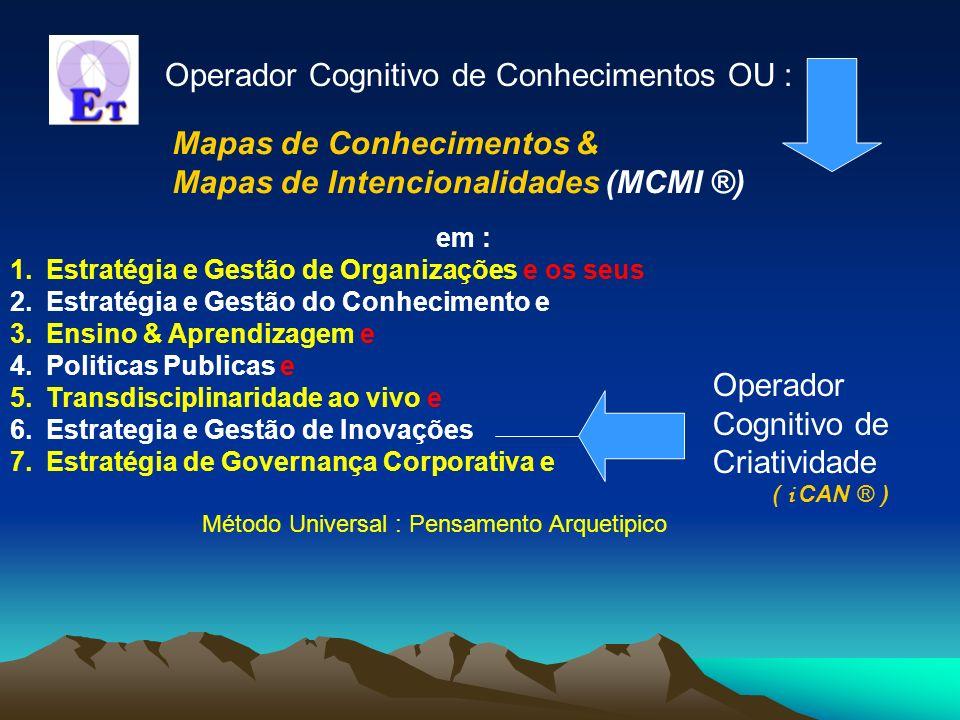 em : 1.Estratégia e Gestão de Organizações e os seus 2.Estratégia e Gestão do Conhecimento e 3.Ensino & Aprendizagem e 4.Politicas Publicas e 5.Transdisciplinaridade ao vivo e 6.Estrategia e Gestão de Inovações 7.Estratégia de Governança Corporativa e Método Universal : Pensamento Arquetipico Operador Cognitivo de Criatividade ( i CAN ® ) Operador Cognitivo de Conhecimentos OU : Mapas de Conhecimentos & Mapas de Intencionalidades (MCMI ®)