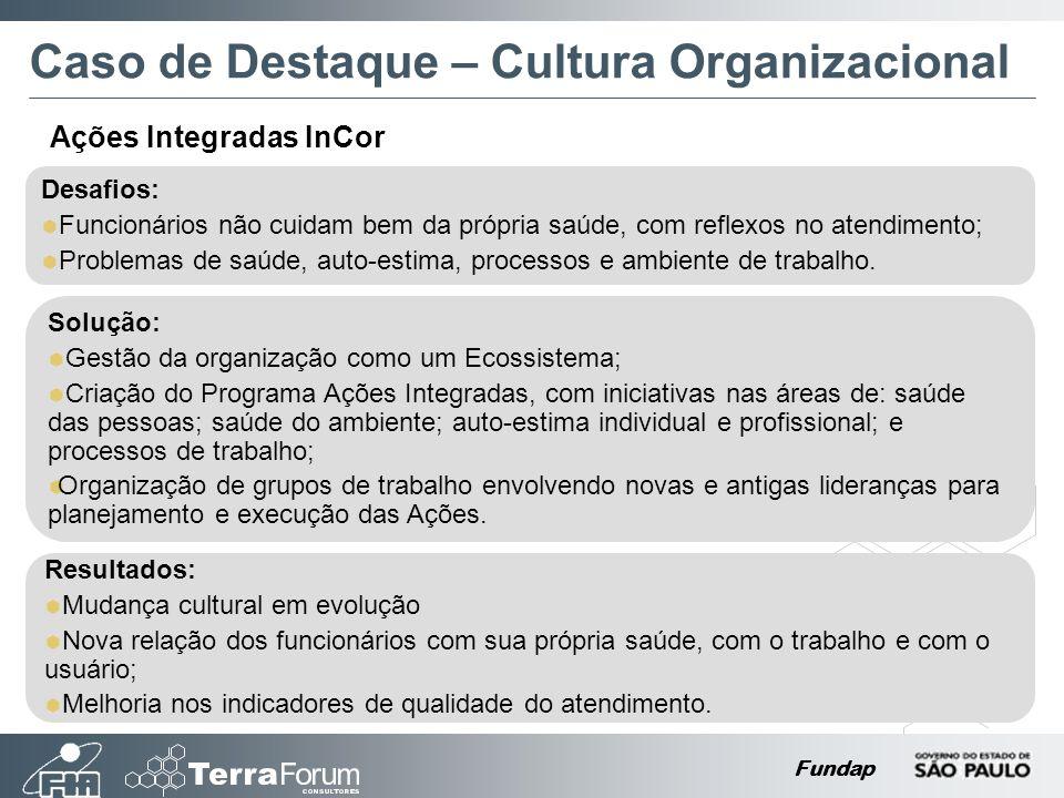 Fundap Caso de Destaque – Cultura Organizacional Desafios: Funcionários não cuidam bem da própria saúde, com reflexos no atendimento; Problemas de saúde, auto-estima, processos e ambiente de trabalho.
