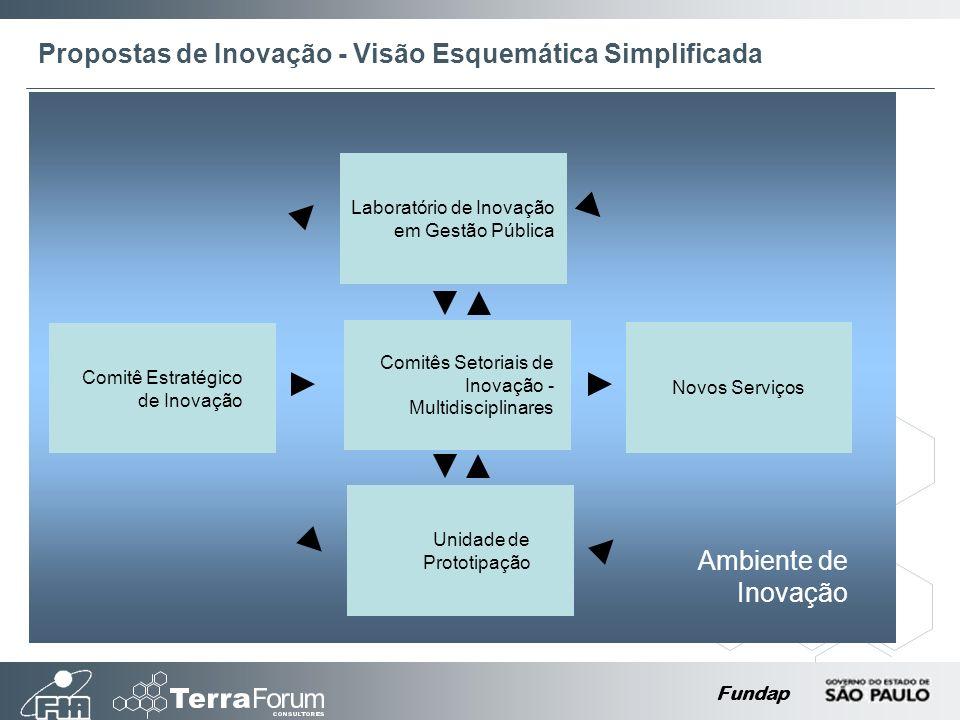 Fundap Comitê Estratégico de Inovação Comitês Setoriais de Inovação - Multidisciplinares Laboratório de Inovação em Gestão Pública Unidade de Prototipação Novos Serviços Ambiente de Inovação Propostas de Inovação - Visão Esquemática Simplificada