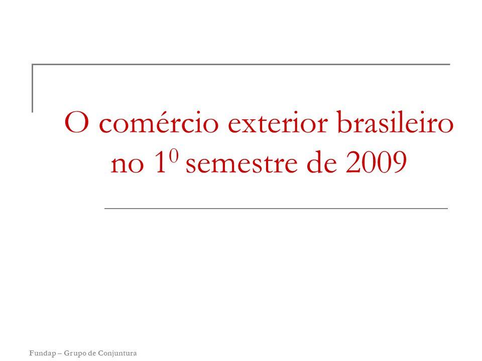 Fundap – Grupo de Conjuntura O comércio exterior brasileiro no 1 0 semestre de 2009