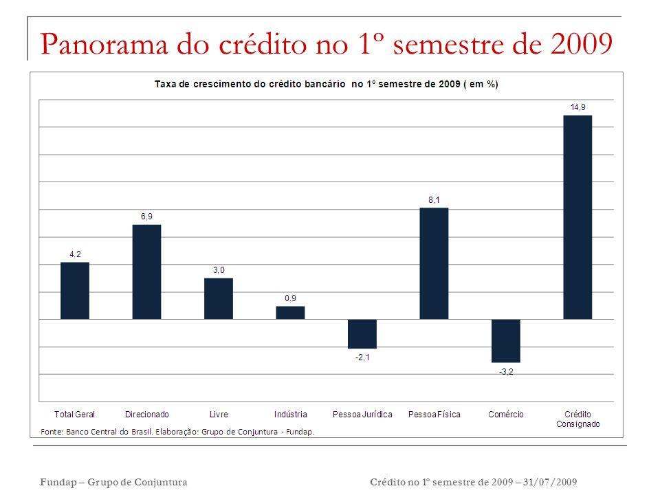 Fundap – Grupo de ConjunturaCrédito no 1º semestre de 2009 – 31/07/2009 Panorama do crédito no 1º semestre de 2009
