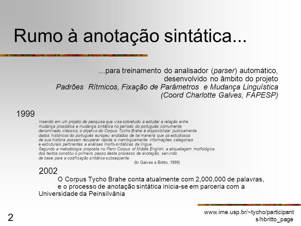 www.ime.usp.br/~tycho/participant s/hbritto_page 2 Rumo à anotação sintática......para treinamento do analisador (parser) automático, desenvolvido no