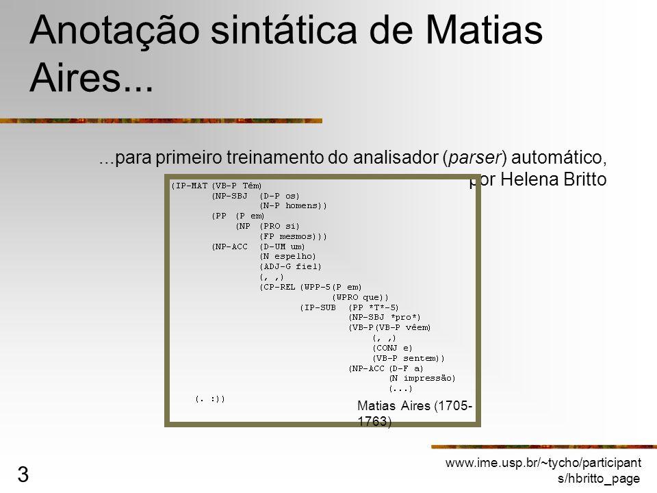www.ime.usp.br/~tycho/participant s/hbritto_page 3 Anotação sintática de Matias Aires......para primeiro treinamento do analisador (parser) automático