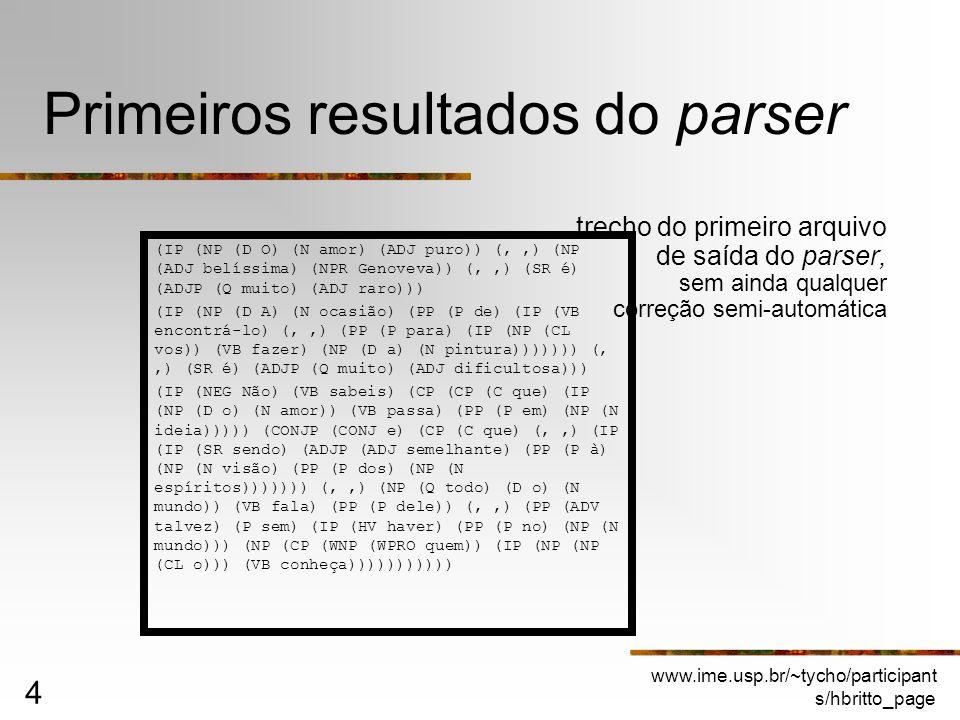 www.ime.usp.br/~tycho/participant s/hbritto_page 4 Primeiros resultados do parser trecho do primeiro arquivo de saída do parser, sem ainda qualquer co