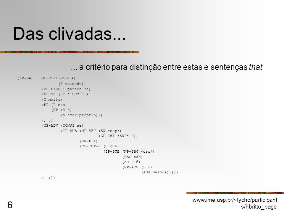 www.ime.usp.br/~tycho/participant s/hbritto_page 6 Das clivadas...... a critério para distinção entre estas e sentenças that (IP-MAT (NP-SBJ (D-F A) (