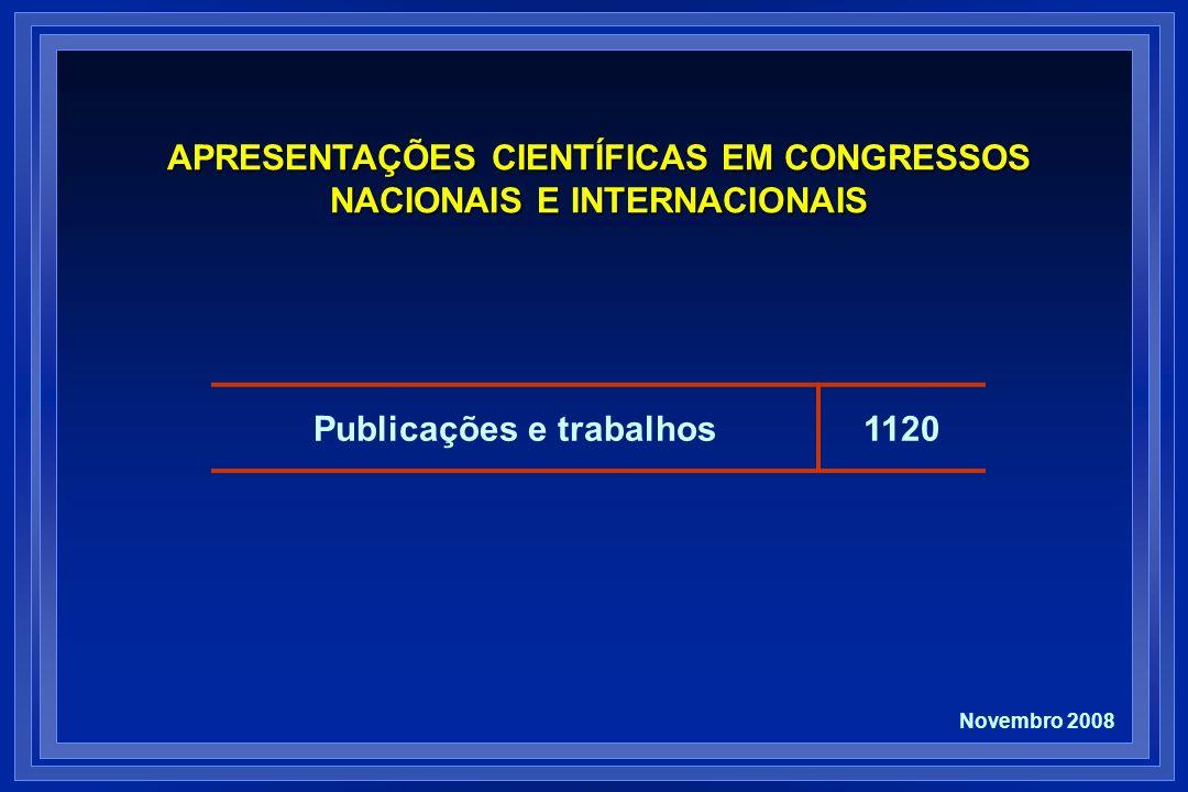 Publicações e trabalhos1120 APRESENTAÇÕES CIENTÍFICAS EM CONGRESSOS NACIONAIS E INTERNACIONAIS Novembro 2008