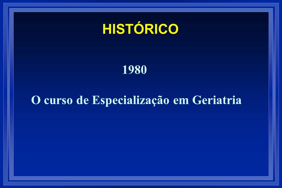 1980 O curso de Especialização em Geriatria HISTÓRICO