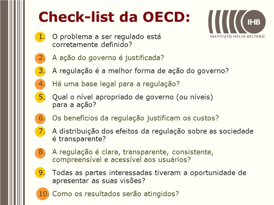 Check-list da OECD: 1.O problema a ser regulado está corretamente definido? 2.A ação do governo é justificada? 3.A regulação é a melhor forma de ação