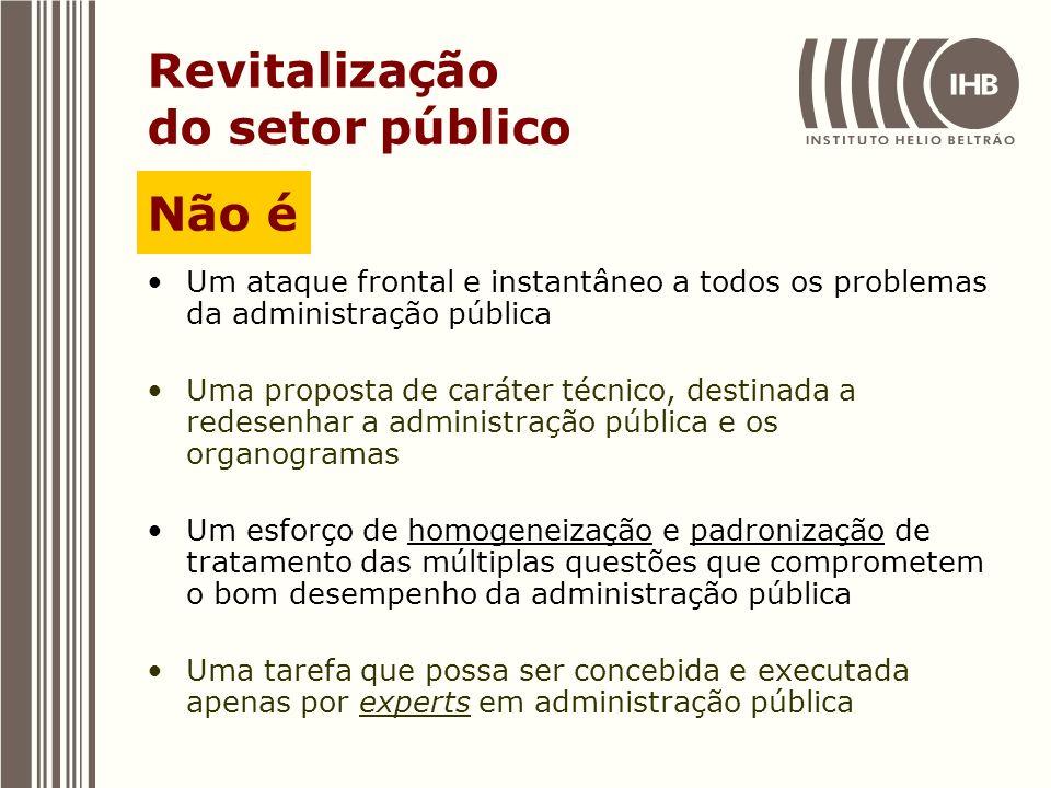 Revitalização do setor público Um ataque frontal e instantâneo a todos os problemas da administração pública Uma proposta de caráter técnico, destinad