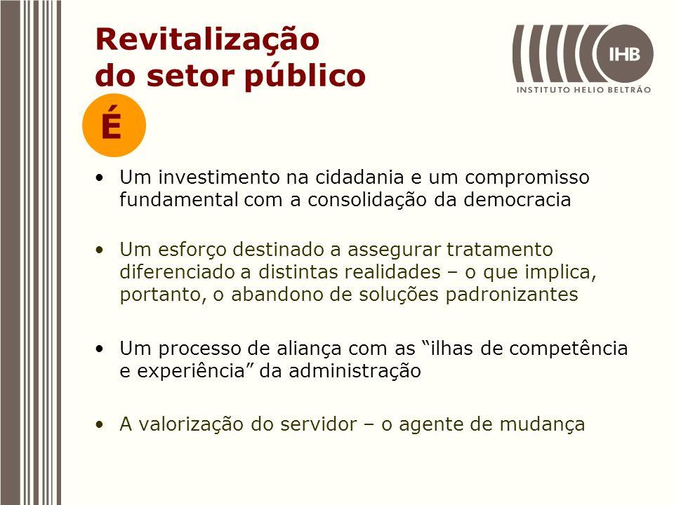 Revitalização do setor público Um investimento na cidadania e um compromisso fundamental com a consolidação da democracia Um esforço destinado a asseg