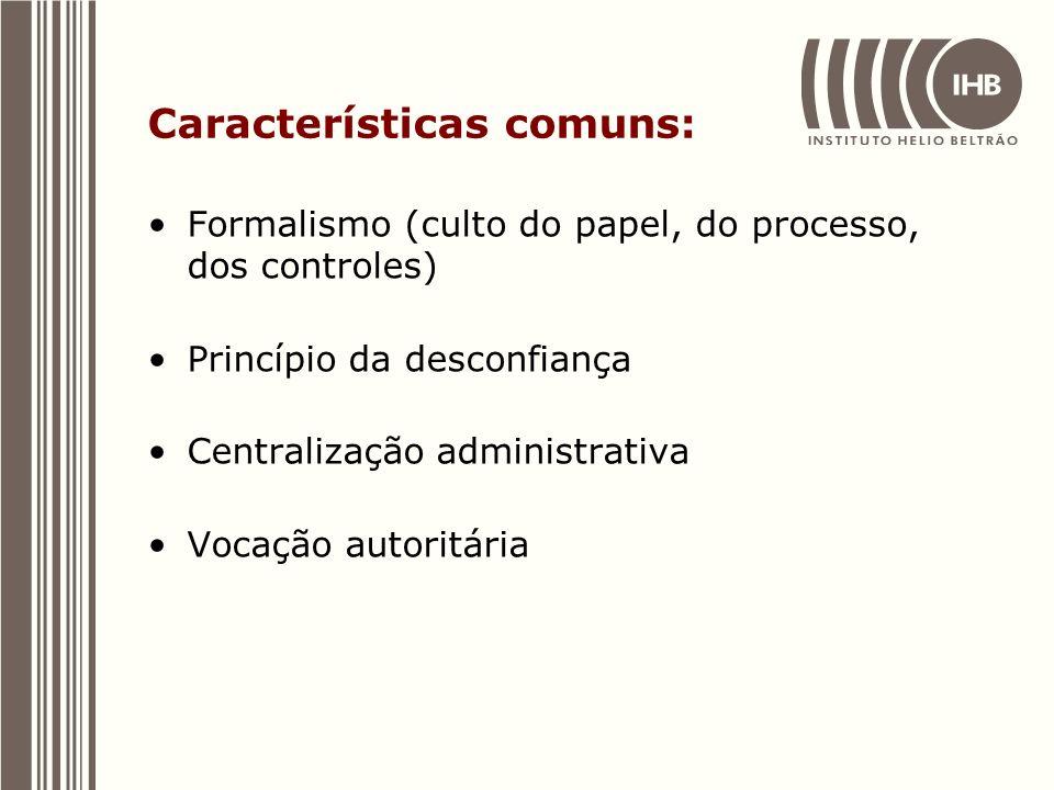 Características comuns: Formalismo (culto do papel, do processo, dos controles) Princípio da desconfiança Centralização administrativa Vocação autorit