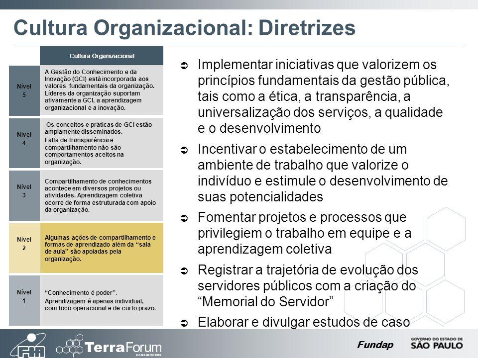 Fundap Cultura Organizacional: Diretrizes Implementar iniciativas que valorizem os princípios fundamentais da gestão pública, tais como a ética, a tra