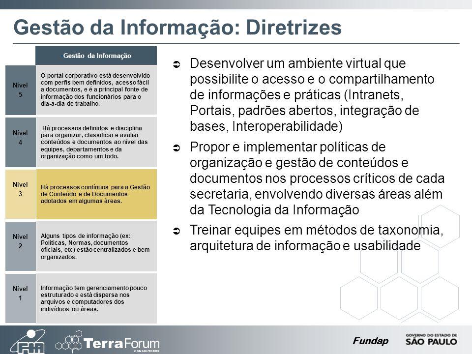 Fundap Gestão da Informação: Diretrizes Desenvolver um ambiente virtual que possibilite o acesso e o compartilhamento de informações e práticas (Intra