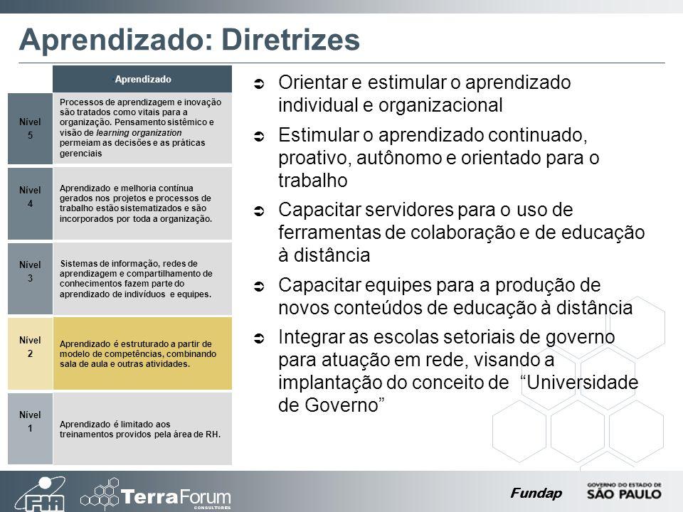 Fundap Aprendizado: Diretrizes Orientar e estimular o aprendizado individual e organizacional Estimular o aprendizado continuado, proativo, autônomo e