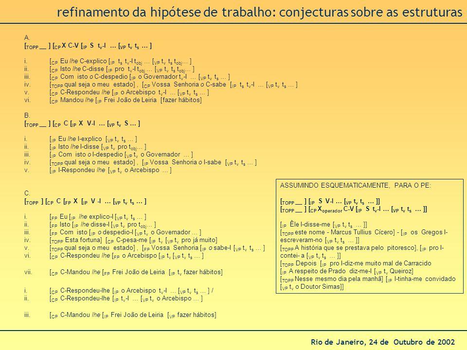 Rio de Janeiro, 24 de Outubro de 2002 refinamento da hipótese de trabalho: conjecturas sobre as estruturas A. [ TOPP __ ] [ CP X C-V [ IP S t v -I … [