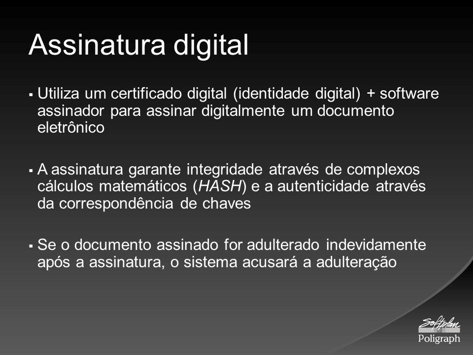 Assinatura digital Utiliza um certificado digital (identidade digital) + software assinador para assinar digitalmente um documento eletrônico A assina