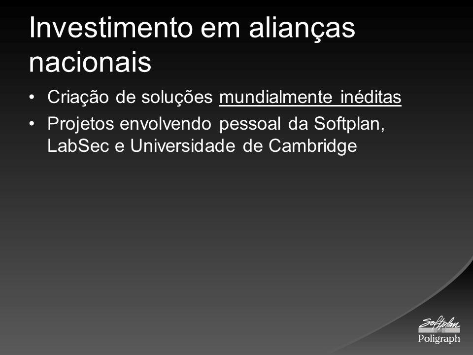 Investimento em alianças nacionais Criação de soluções mundialmente inéditas Projetos envolvendo pessoal da Softplan, LabSec e Universidade de Cambrid