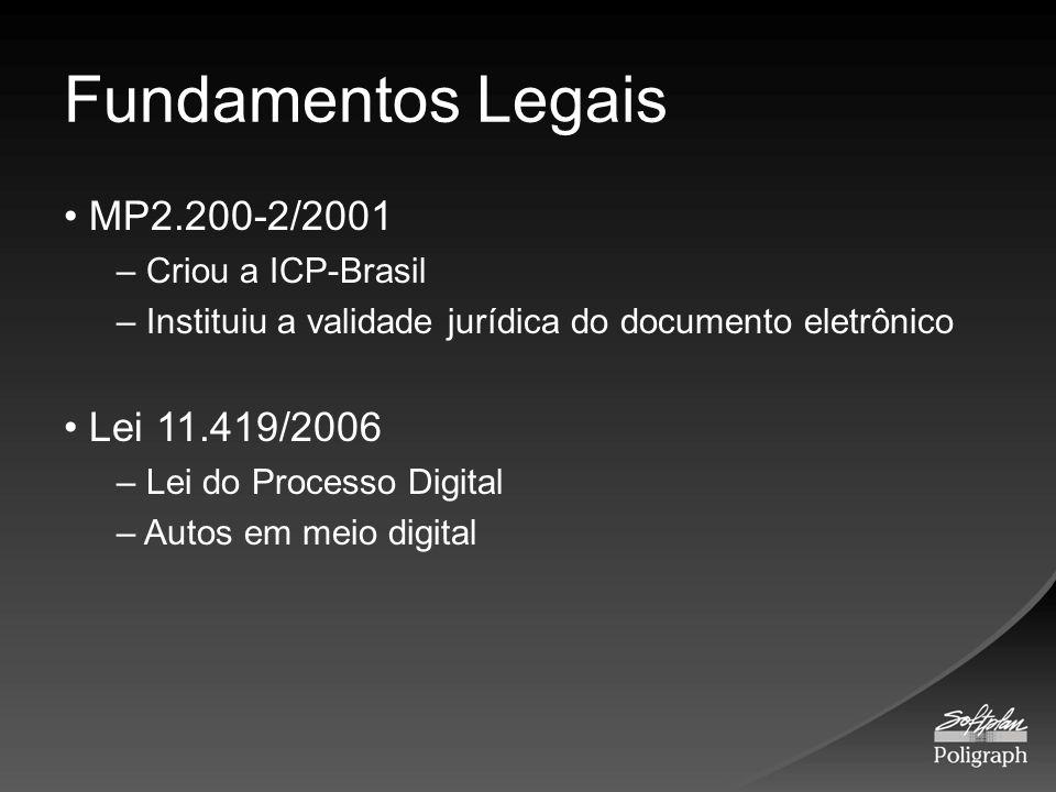 Fundamentos Legais MP2.200-2/2001 – Criou a ICP-Brasil – Instituiu a validade jurídica do documento eletrônico Lei 11.419/2006 – Lei do Processo Digit