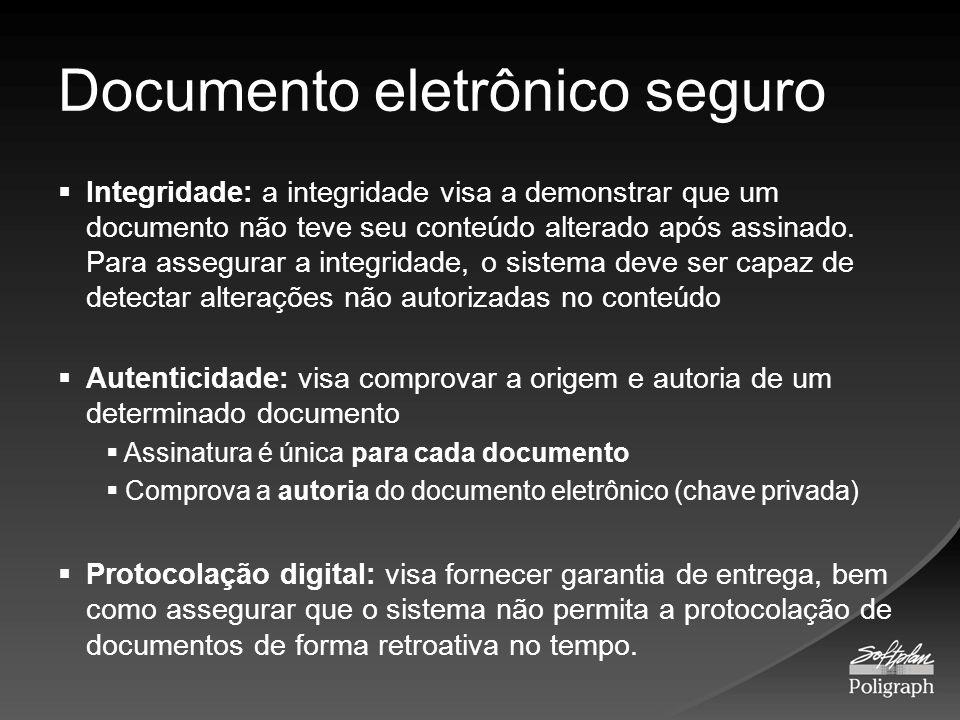Documento eletrônico seguro Integridade: a integridade visa a demonstrar que um documento não teve seu conteúdo alterado após assinado. Para assegurar