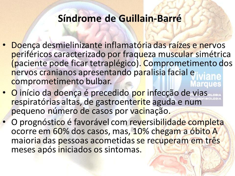 Síndrome de Guillain-Barré Doença desmielinizante inflamatória das raízes e nervos periféricos caracterizado por fraqueza muscular simétrica (paciente