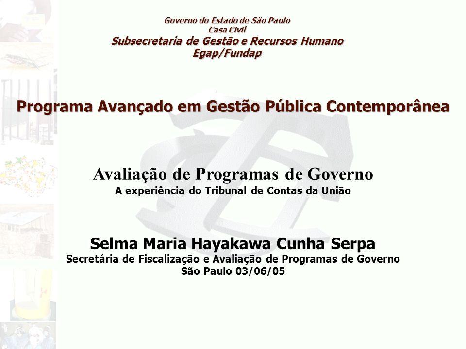 Programa Avançado em Gestão Pública Contemporânea Governo do Estado de São Paulo Casa Civíl Subsecretaria de Gestão e Recursos Humano Egap/Fundap Aval