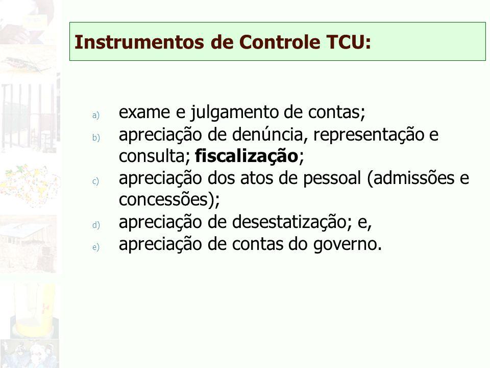 Instrumentos de Controle TCU: a) exame e julgamento de contas; b) apreciação de denúncia, representação e consulta; fiscalização; c) apreciação dos at
