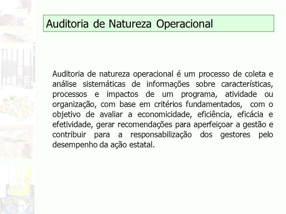 Auditoria de Natureza Operacional Auditoria de natureza operacional é um processo de coleta e análise sistemáticas de informações sobre característica